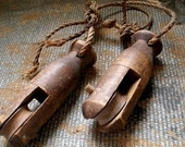 Primitive Wooden Antique Farmhouse Barn Pulleys  Set of Two