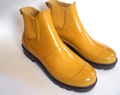 Vintage Yellow Rubber Ankle Boots  Ladies Size 7 Maine Woods Brand SALE