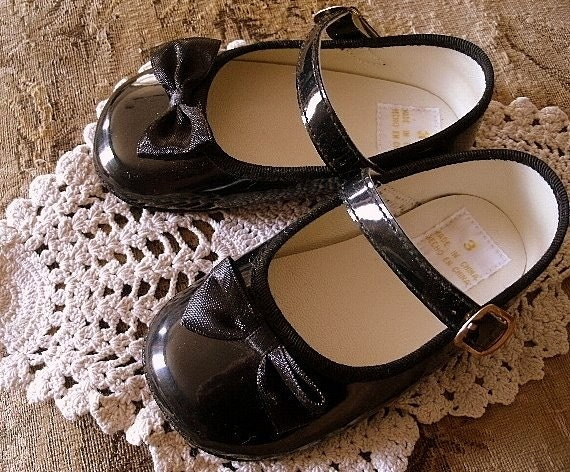 Vintage Baby Girl s Black Patent Leather by countrysidepeddler