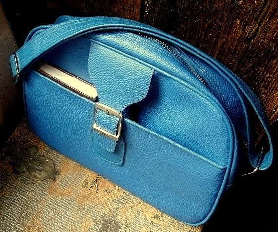 Vintage Samsonite Luggage Dark Slate Blue Overnight Bag Messenger Bag Carry On Bag Saturn II FREE U.S. SHIPPING