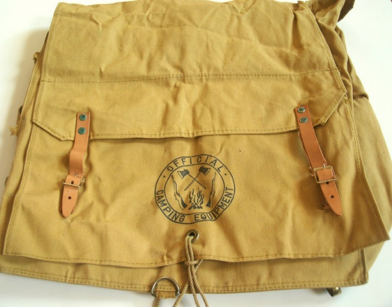 Vintage Boy Scouts Back Pack Canvas Back Pack Book Bag Very Clean Great Condition
