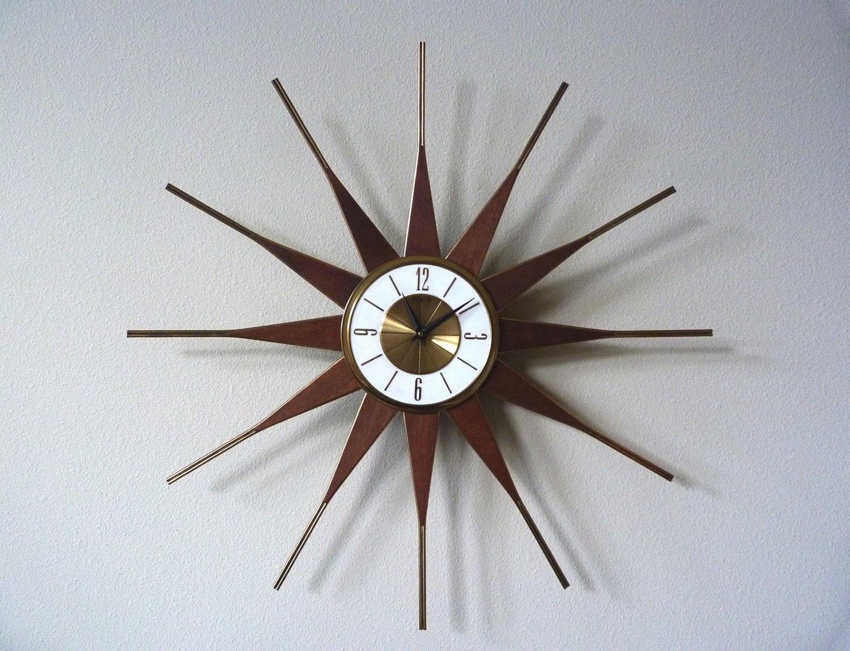 Vintage Elgin Wall Clock Sunburst Eames Mid Century Modern