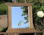 Rustic Wood Framed Mirror - Limited Series 4 of 6 - made with reclaimed old growth lumber & vintage mirror.