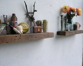 Pair of his and hers Rustic Wood Floating Shelves - lumber from an 1860/70's Gold Mine Camp in the Eastern Sierra Nevada Mountains