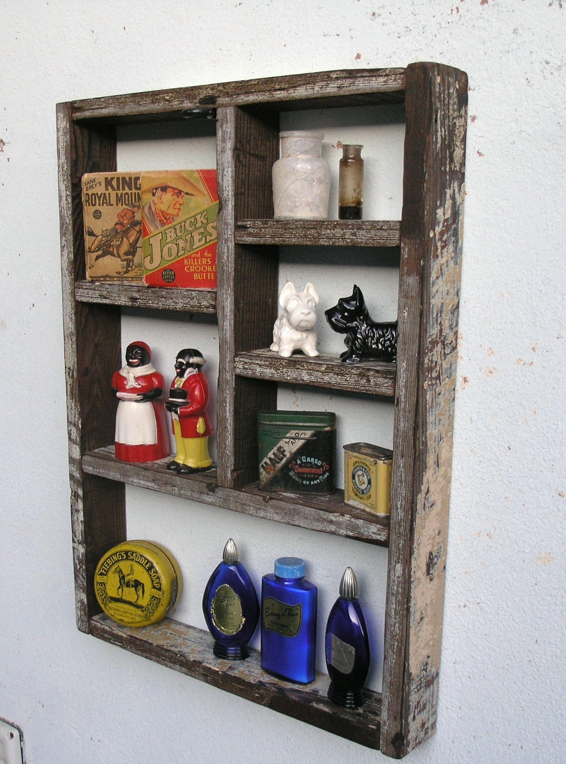 Rustic wood shadow box shelf made with reclaimed humboldt