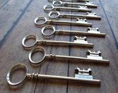 Tully Antique Silver Skeleton Key - Set of 10