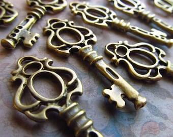Ravenscraig Antique Brass/Bronze Skeleton Key  - Set of 10