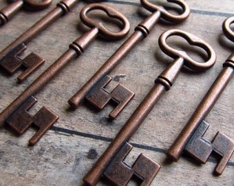 Copertino Antique Copper Skeleton Key - Set of 10