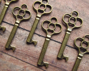 Bamburgh Antique Brass/Bronze Skeleton Key - Set of 10