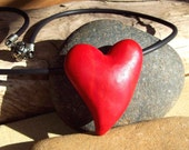 Big Red Heart Pendant Choker Necklace