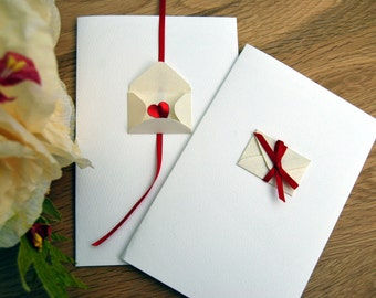 50 Wedding invitations heart bow valentines cards