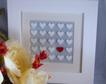 Valentine gift Hearts framed picture bridal shower I love you Wedding keepsake