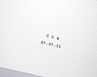 Save the date initials card invite pack of 10