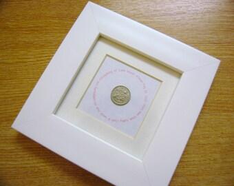 Sixpence Christening keepsake gift personalised custom made Baptism child baby