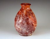 Handmade Ceramic Saggar Fired Bottle Vase in shades of Orange and Crimson with the look of Marble/Ceramics and Pottery