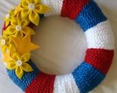 Seeing Fourth of July Star Flowers Patriotic Red, White, Blue Felt Flower Yarn Wreath 12 inch FREE SHIPPING