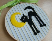 Spooky Halloween Black Cat and Crescent Moon Felt Fabric Embroidery Hoop Art