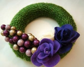 Christmas Wreath Pretty in Purple 8 inch Christmas Yarn Wreath with Purple Felt Roses FREE SHIPPING