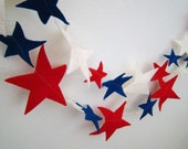 Star Garland : Fourth of July Patriotic Red , White and Blue Stars 12'7'' FREE SHIPPING