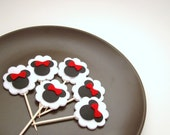 Reusable Birthday Baby Shower Minnie Mouse Felt Cardstock Cupcake Toppers set of 6 FREE SHIPPING