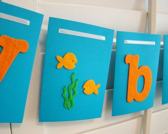 Happy Birthday Banner Garland Orange and Blue Under the Sea Fish theme
