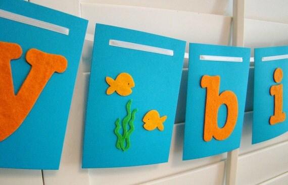Happy Birthday Banner Garland Orange and Blue Under the Sea Fish theme