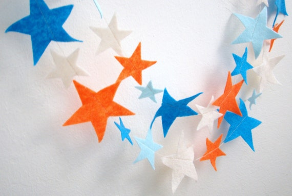 Star Garland : Orange, Cream, Light Blue and Blue Felt Star Garland birthday nursery room decor 10'5''FREE SHIPPING