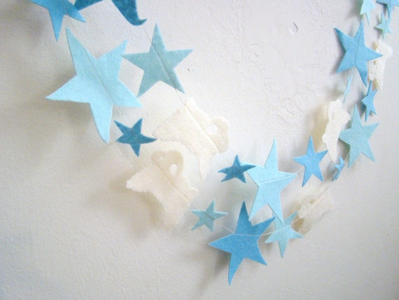 Blue, Lt Blue, Cream Lamb Party, Birthday, Baby Shower, Home/Room Decor, Nursey Counting Sheep Garland 8' 9'' FREE SHIPPING