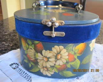 Vintage Strawberry Wooden Box Purse, Blue, Hand-painted