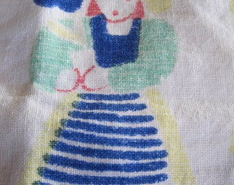 Vintage MidCentury Tablecloth, Made by Dervan, Whimsical Characters, Folk Textile