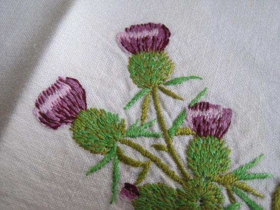 Embroidered thistle tea towel