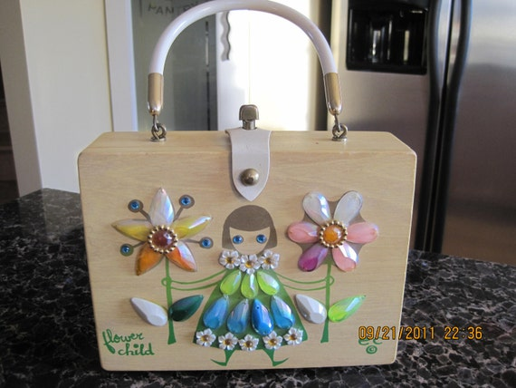 """ENID COLLINS """"Flower Child"""" fabulous vintage 60's box purse"""
