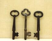 Three Vintage Skeleton Keys Rusty Patina