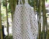 Market Tote, Beach Bag, Off-white Crocheted Cotton in Net Design. Washable