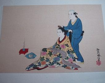 Japanese print of hairdresser