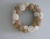 "Burlap Flowers Wreath - 14"" - White & Natural"