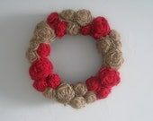 "Burlap Wreath - 14"" - Red & Natural"