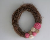 "Grapevine Wreath - 14"" - Pink, White & Natural Burlap Flowers"