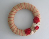 "Jute Wreath - 18"" - Red, White & Natural Burlap Flowers"
