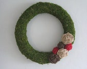 "Moss Wreath 18"" - Natural, Brown, and Red"