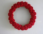 "Burlap Flowers Wreath - 18"" - Red"