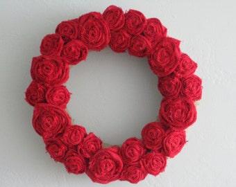 """Burlap Wreath - 14"""" - Red"""