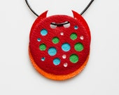 Handmade and Handtooled Red Pendant  - Red Leather Pendant V