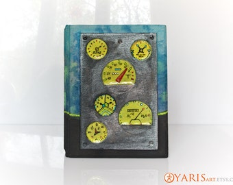 SALE! Leather Photo Album For 100  4in x 6in photos - Absolutely Original. Exclusive Handmade . - Steampunk Spaceship Dashboard