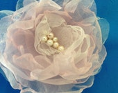 Handcrafted Organza Fabric Vintage Rose with glass pearls and or glass beads.