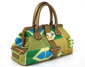Gold Multi Kente fabric handbag with Gold /Leather detail
