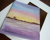 Hand Painted Hand Cut Trifold Card with Mat, Custom Serene Sunset