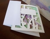 Hand Painted Hand Cut Trifold Card with Mat, Purple Alstromeria