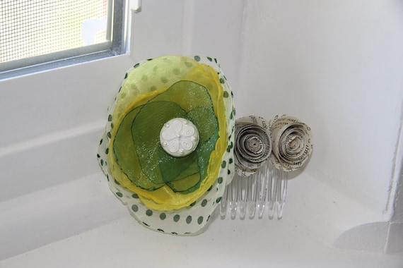 Green, Yellow, Polka Dot Flower Hair Comb With Paper Roses