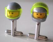 Cufflinks -- LEGO Guy with Metallic Silver Helmet Silver Cufflinks